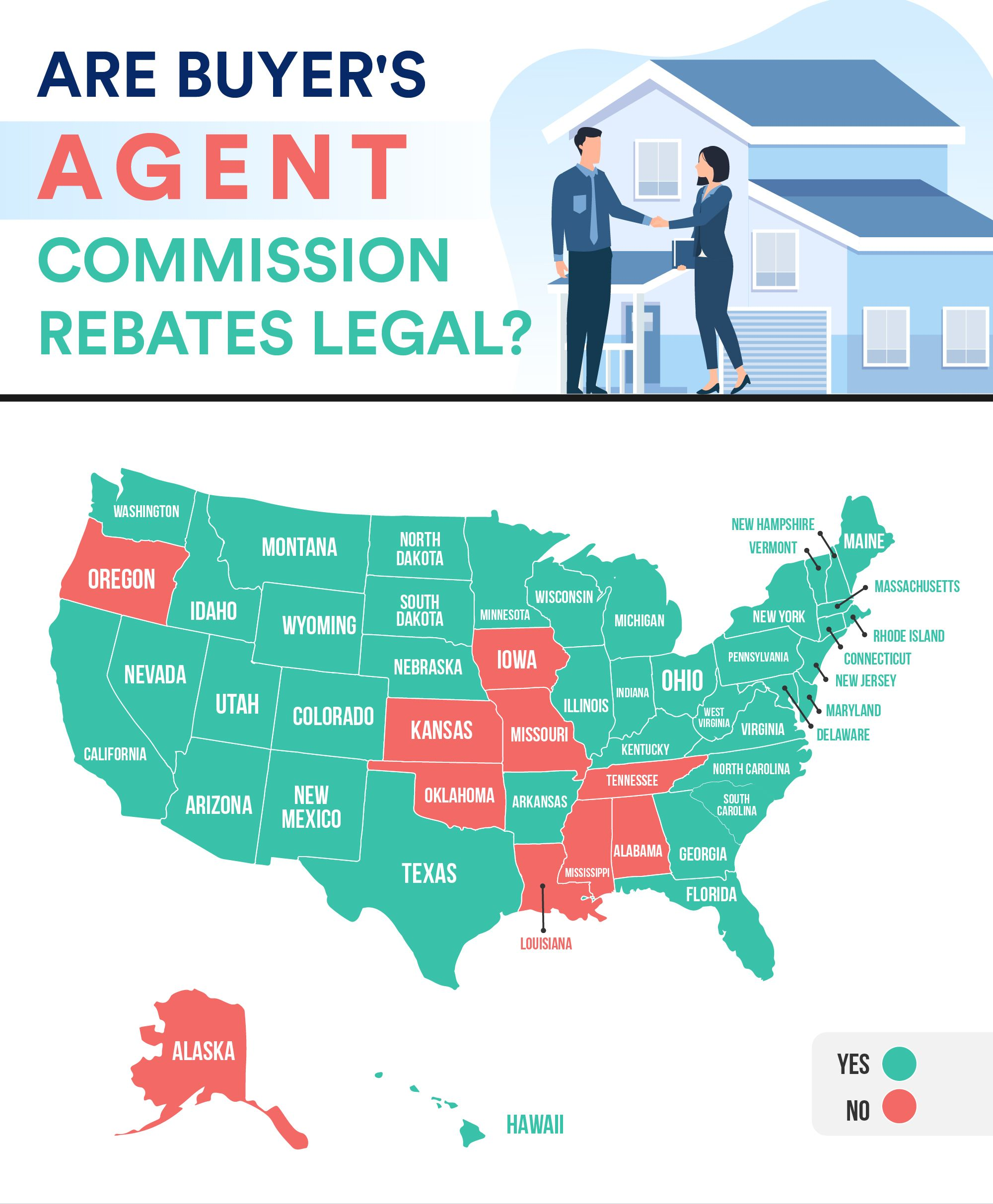 Infographic depicting a map of the United States showing the states where a buyer's agent commission rebate is legal