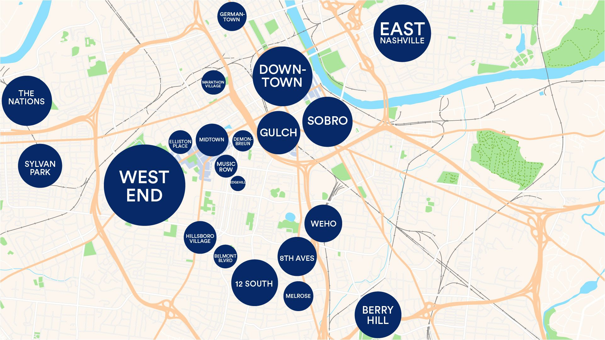 Map depicting the neighborhoods in Nashville Tennessee