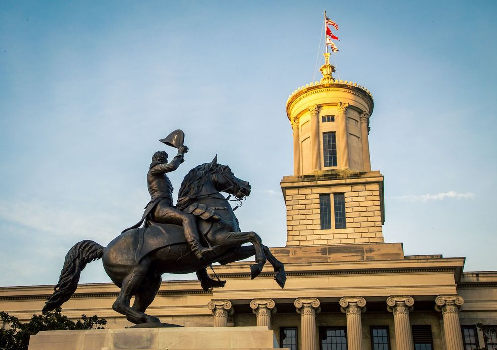Statue of a President Andrew Jackson on a horse in Nashville Tennessee