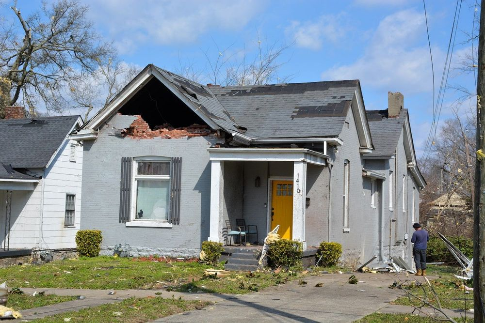 A tornado in Nashville, Tennessee damages historic buildings in the Buena Vista neighborhood.