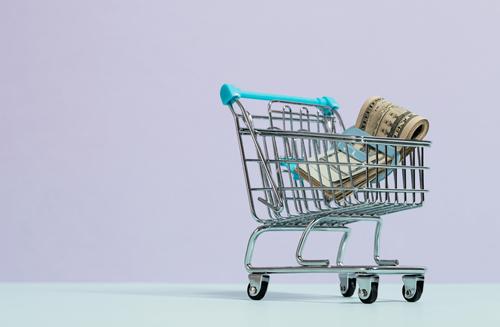 Image of a toy shopping cart with twenty-dollar bills inside