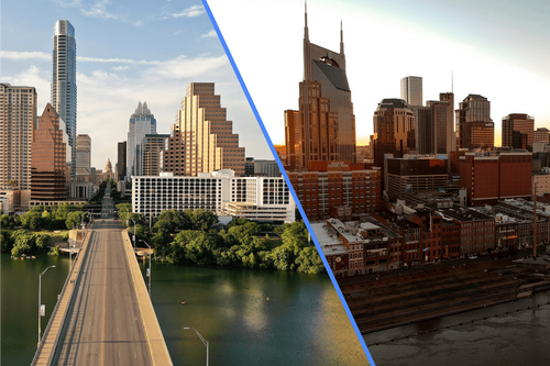 Split image of the skylines of Nashville Tennessee and Austin Texas